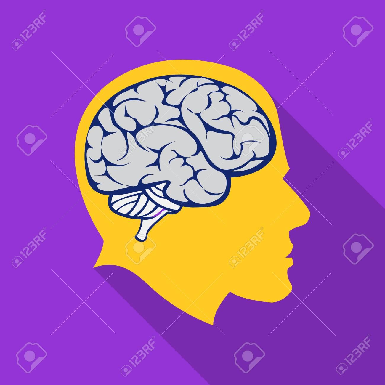 Icono Del Cerebro Plano. Icono De Educación Individual De La Gran ...
