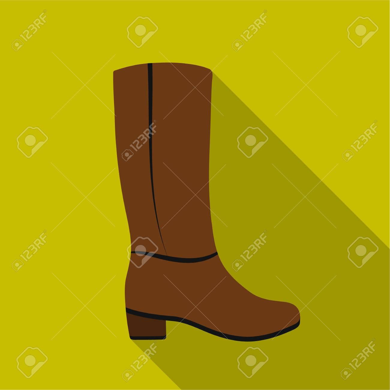 Rodilla icono de botas altas en estilo plano aislado sobre fondo blanco. Zapatos símbolo stock ilustración vectorial.