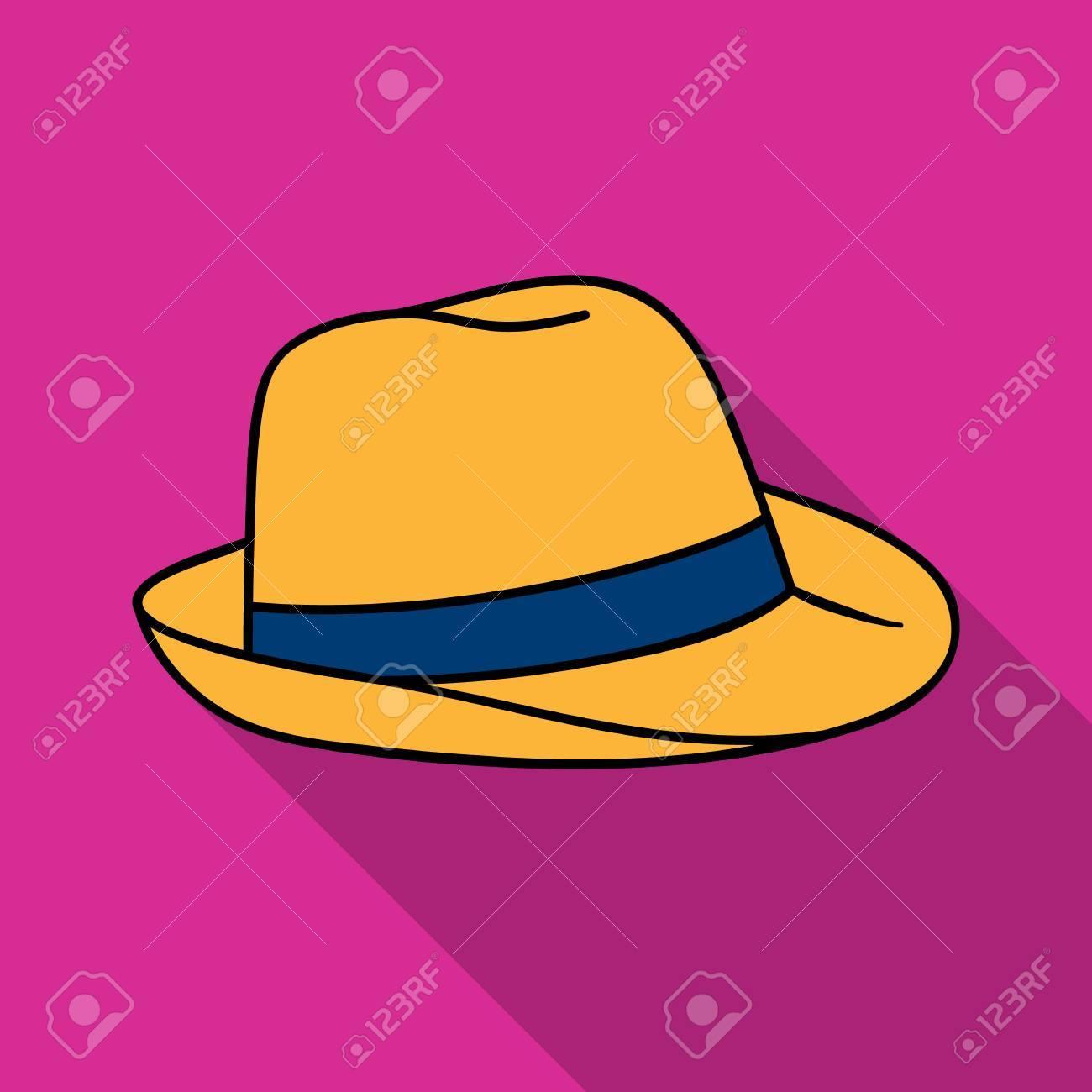 Archivio Fotografico - Icona del cappello di Panama in stile piano isolato  su priorità bassa bianca. Illustrazione di stock di simbolo di surf. 3e1122fade68