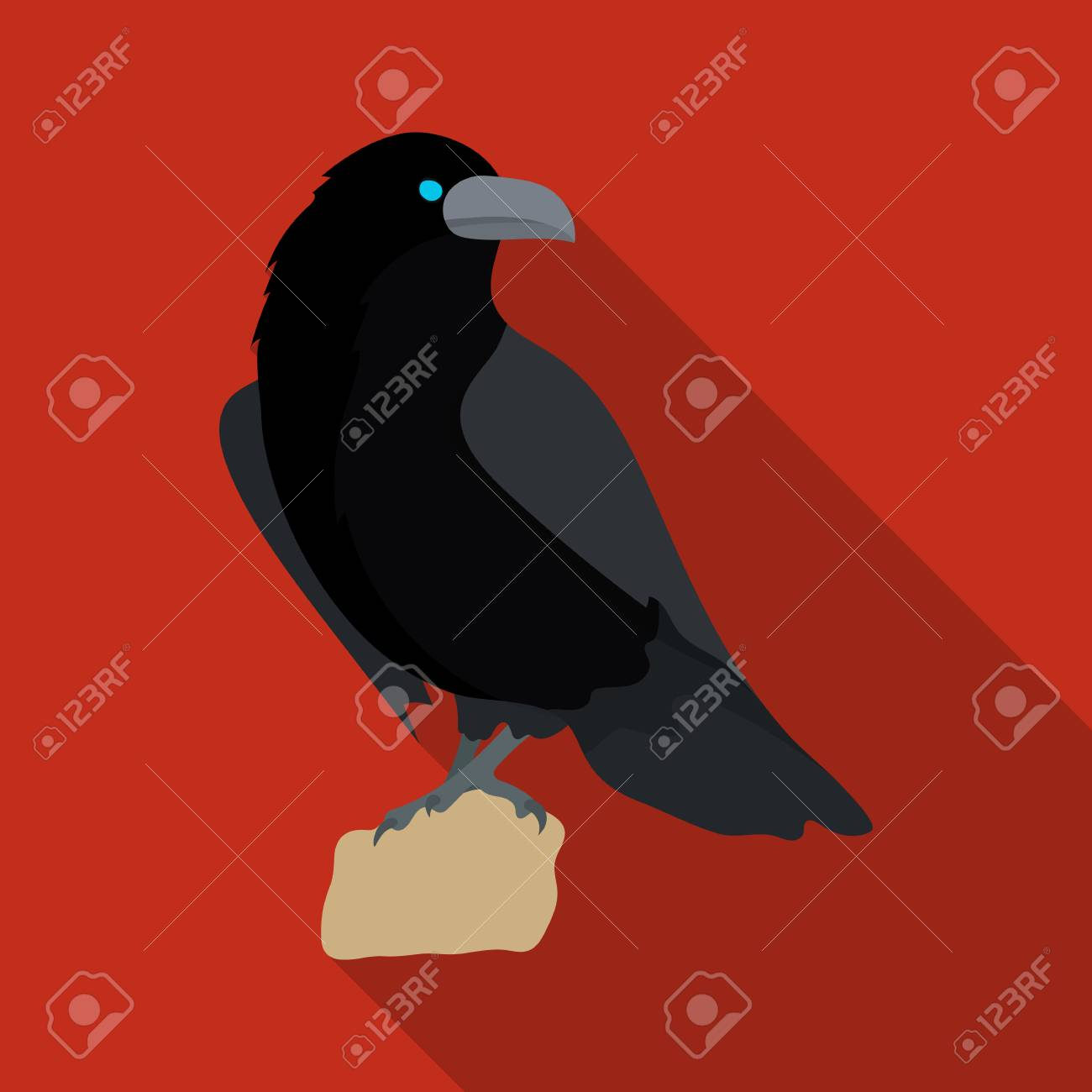 Crow Of Viking God Icon In Flate Style Isolated On White Background