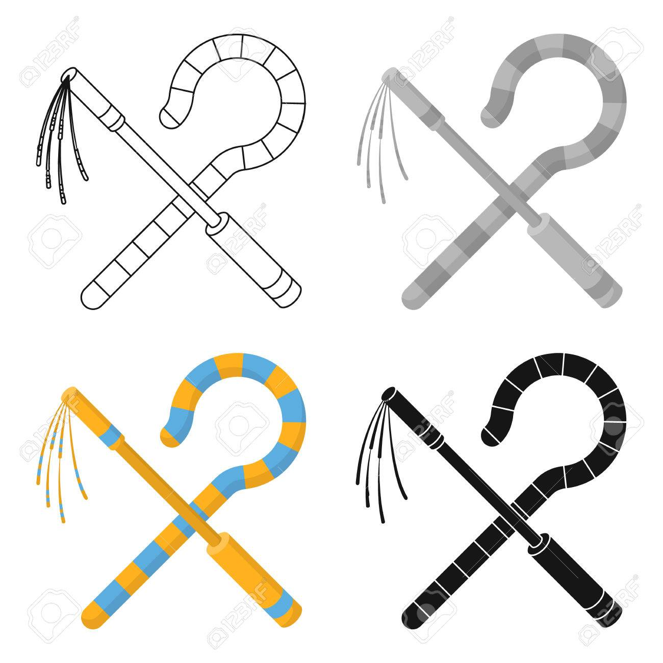 Crook And Flail Icon In Cartoon Style Isolated On White Background