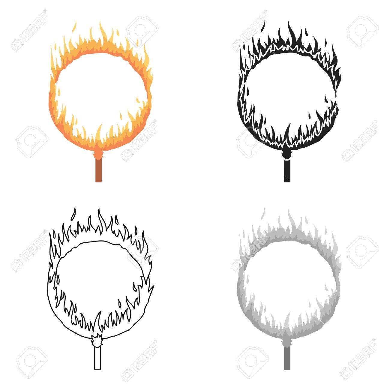 Wonderlijk Burning Hoop Icon In Cartoon Stijl Geïsoleerd Op Een Witte KI-68