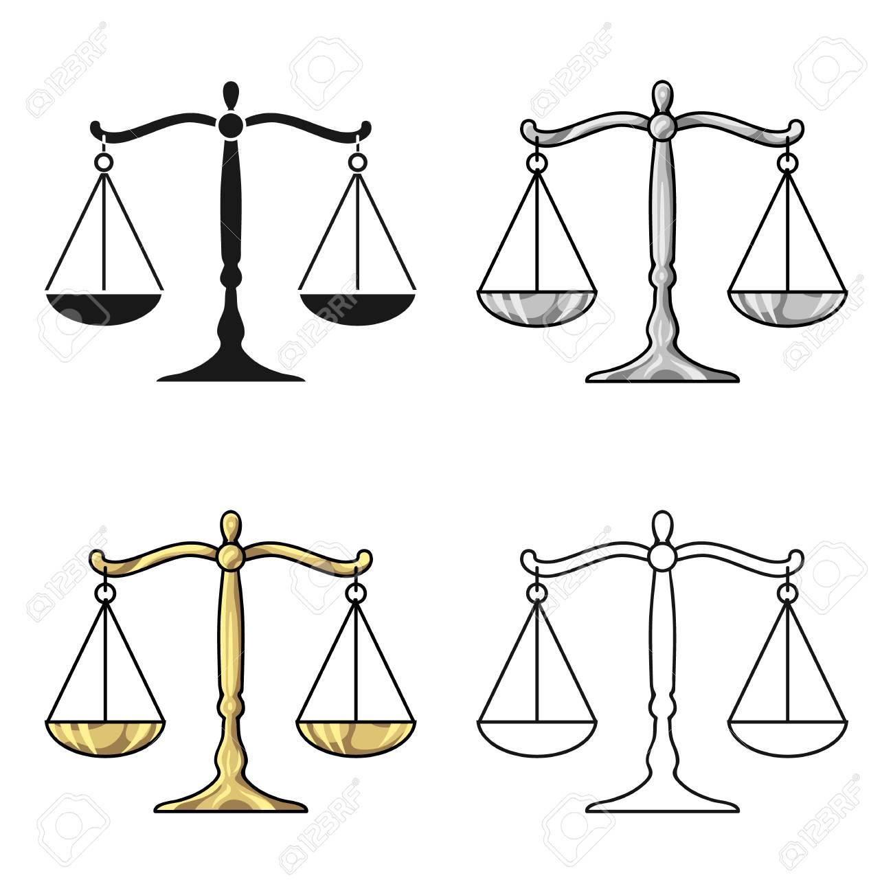 Icona Della Bilancia Della Giustizia Nello Stile Del Fumetto Isolato