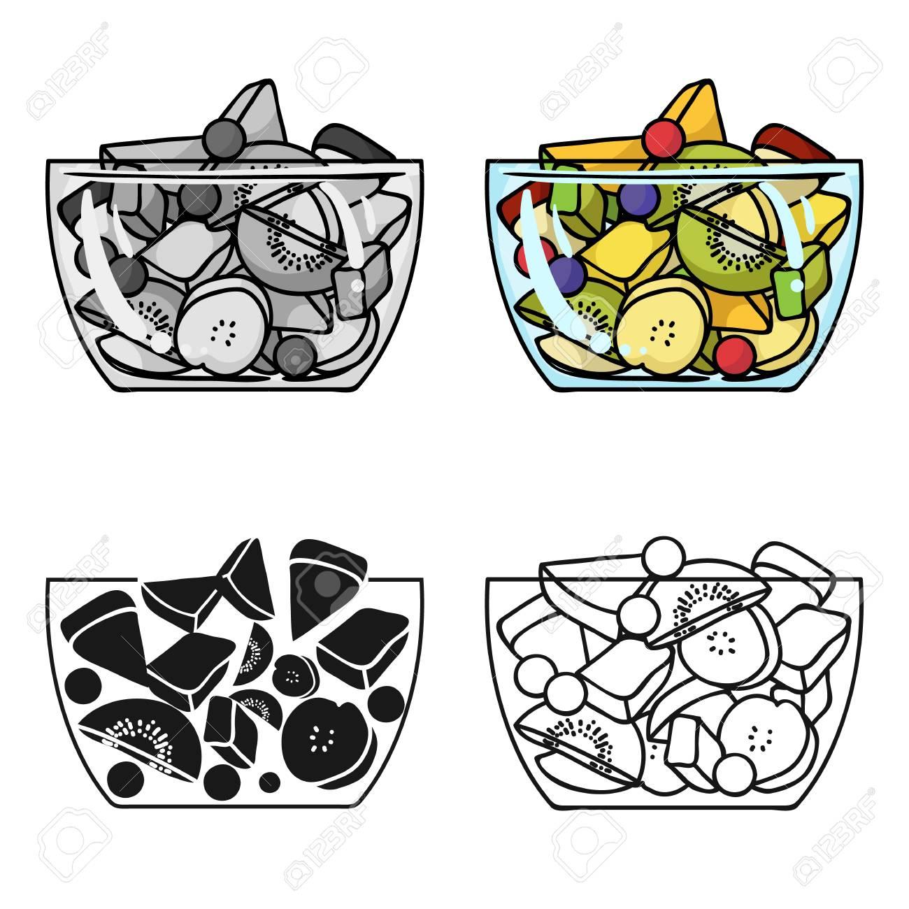 Salade De Fruits Icône Dans Le Style De Dessin Animé Isolé Sur Fond Blanc Sport Et Symbole De Fitness Illustration Vectorielle