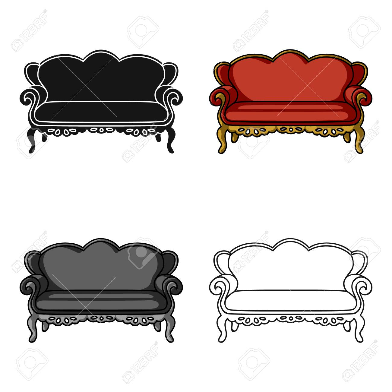 Vintage Sofa Icon In Cartoon Style Isolated On White Background