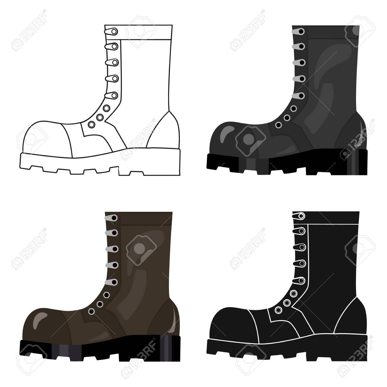 Army combat boots icon in cartoon style isolated on white background