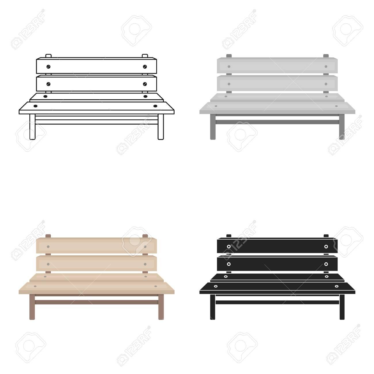 Icône de banc en style cartoon isolé sur fond blanc. Illustration de vecteur stock symbole parc.