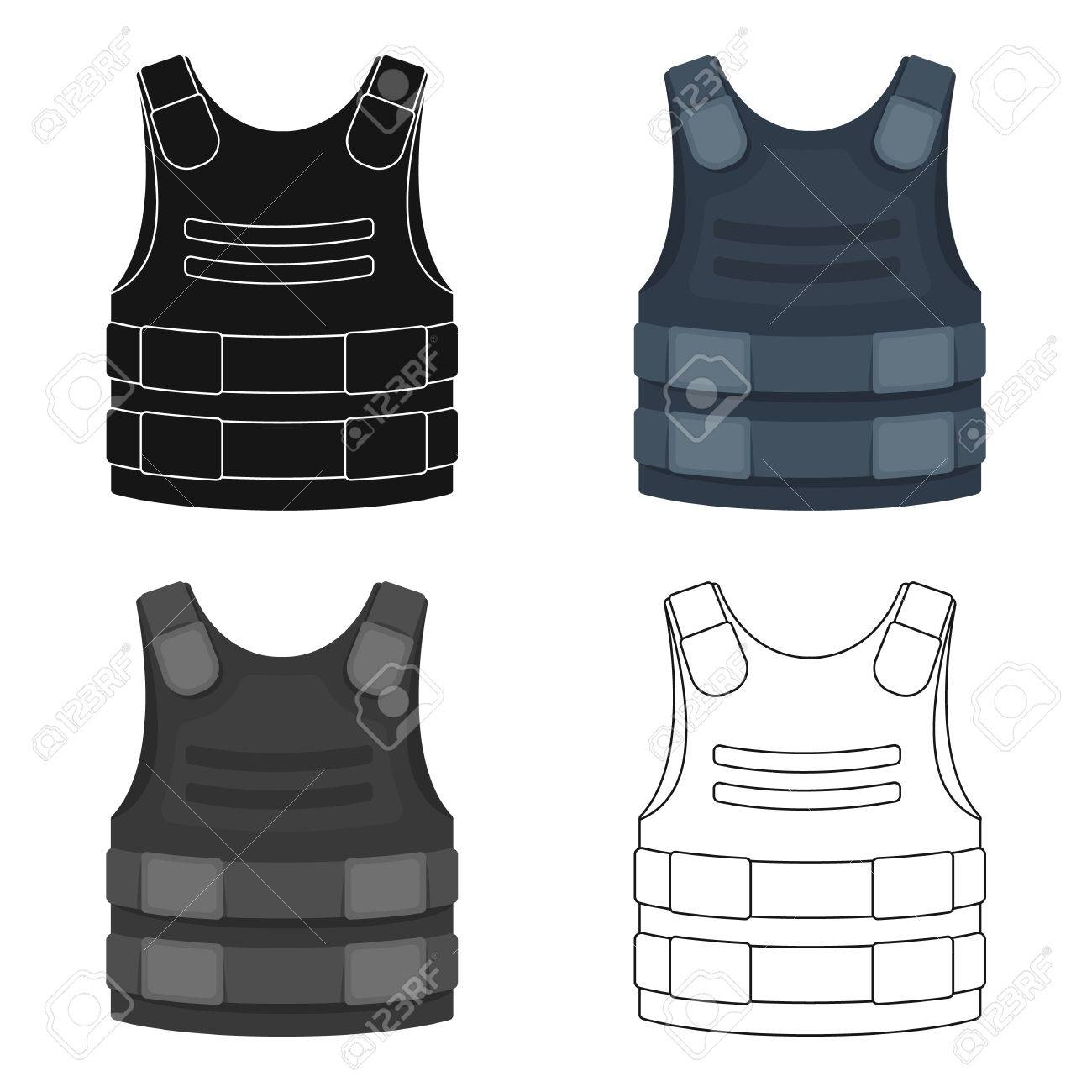 Bulletproof vest icon in cartoon style isolated on white background