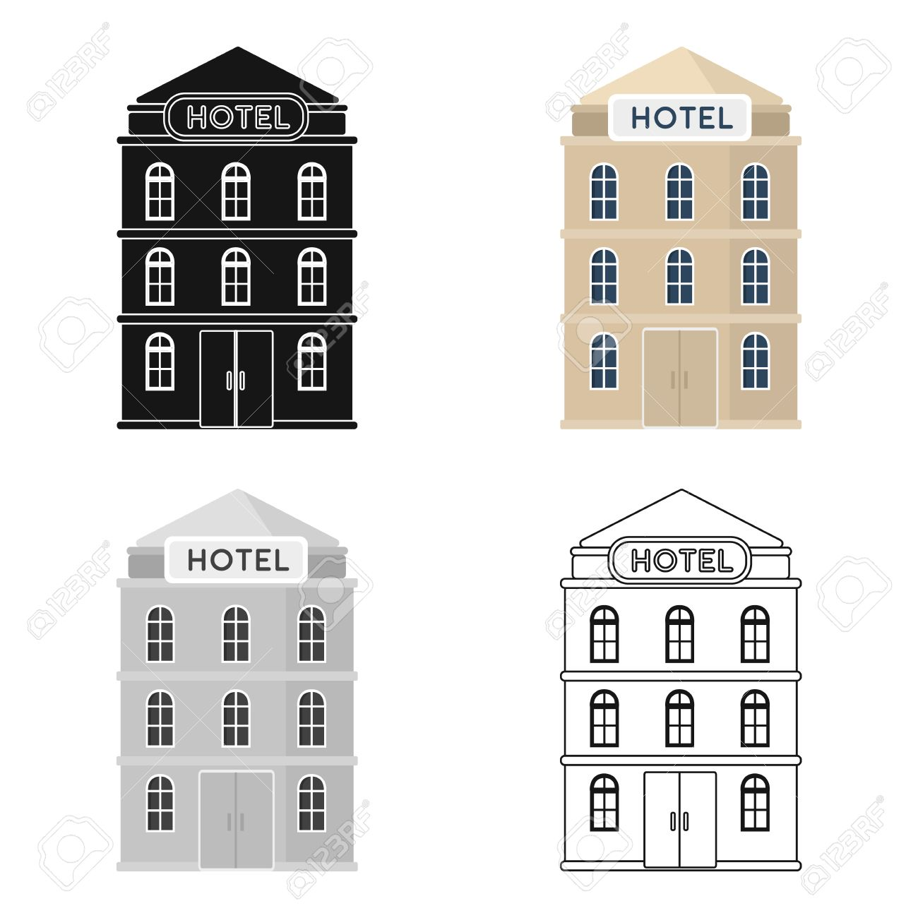 Hotel building icon in cartoon style isolated on white background hotel building icon in cartoon style isolated on white background rest and travel symbol stock biocorpaavc