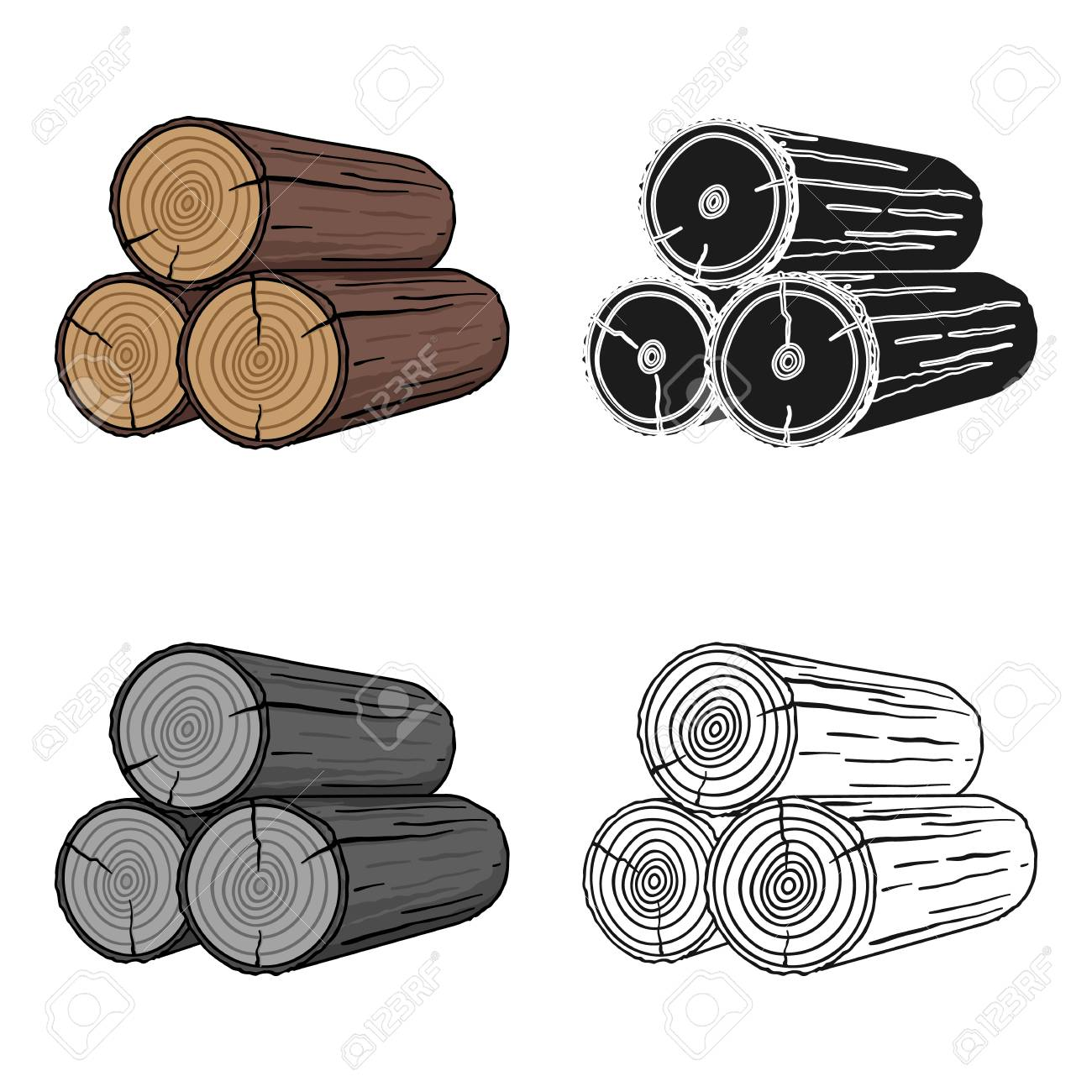 Stack of logs icon in cartoon style isolated on white background. Sawmill and timber symbol stock vector illustration. - 76860135