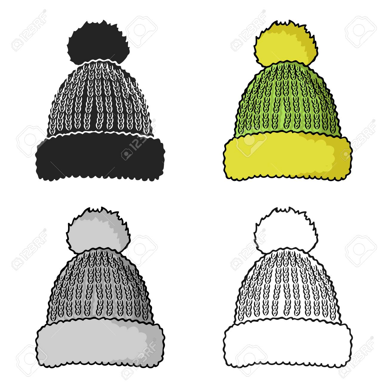 Knit cap icon in cartoon style isolated on white background. Ski resort symbol stock vector illustration. - 76890975