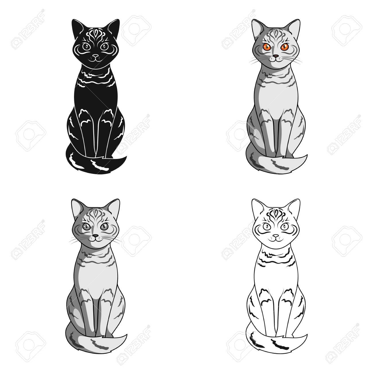 Gray Catimals Single Icon In Cartoon Style Vector Symbol Stock