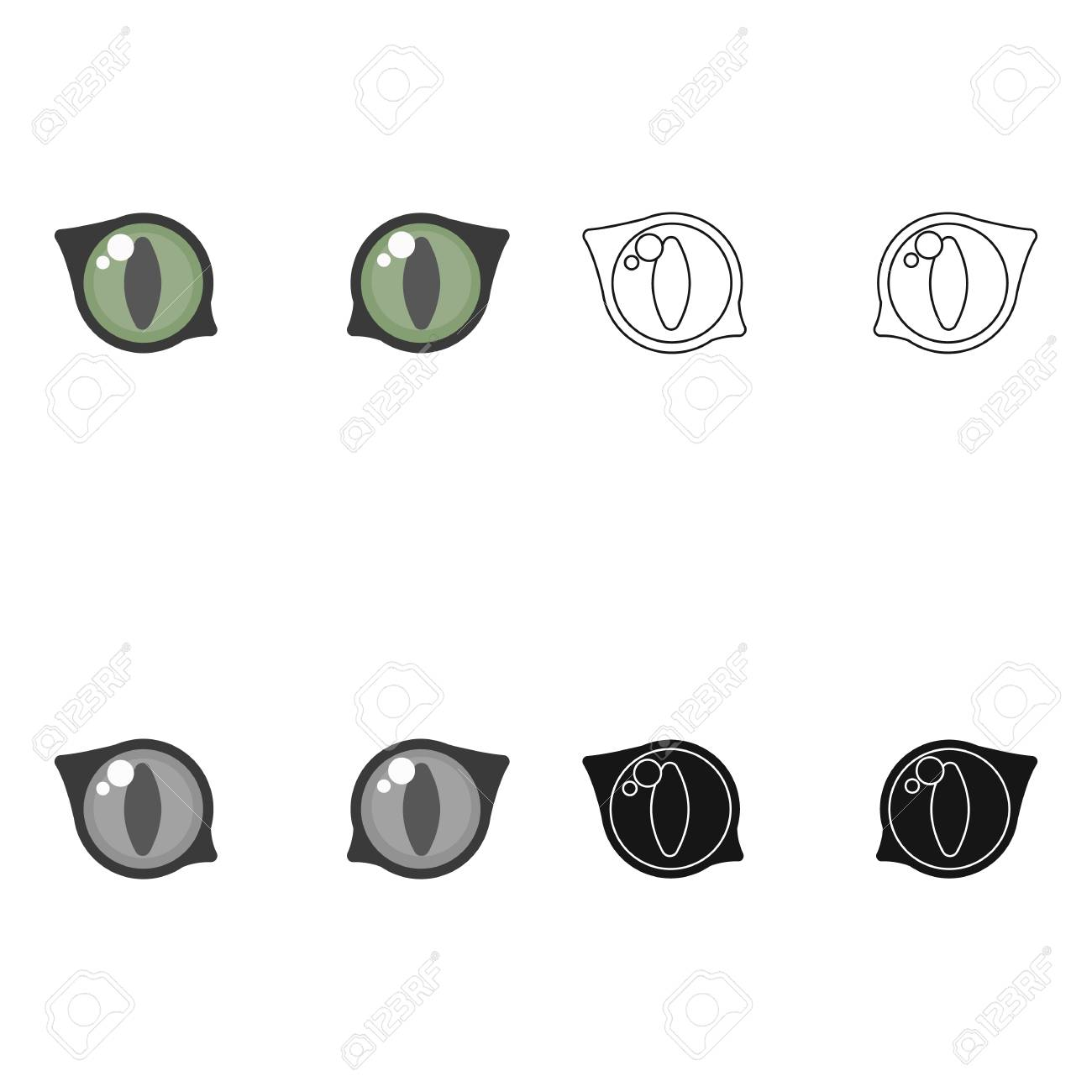Cat Eyes Icon In Cartoon Style Isolated On White Background