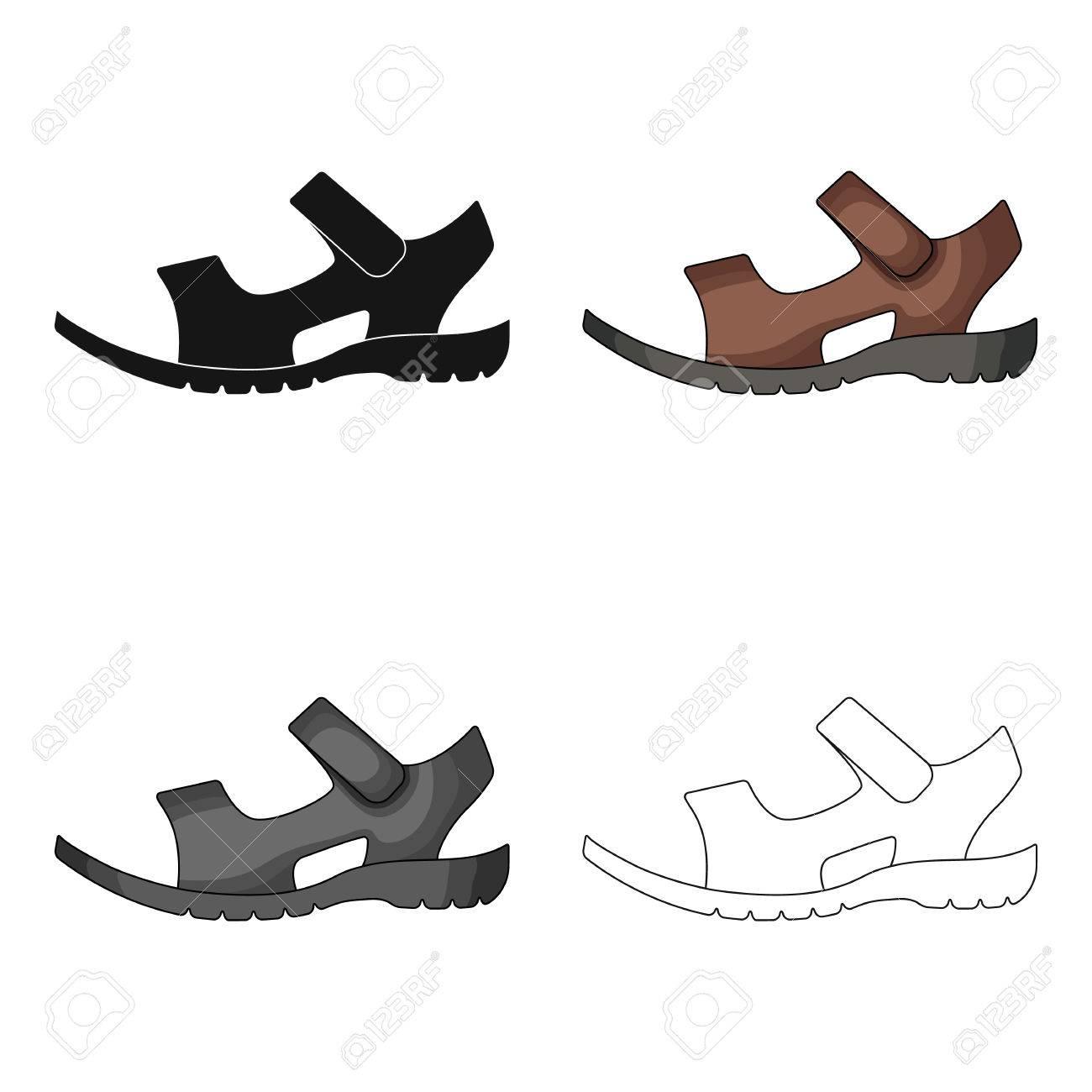 Männer Sommer braun Leder Sandalen auf einem nackten Fuß.Different Schuhe  einzigen Symbol in Cartoon fe94c621f2