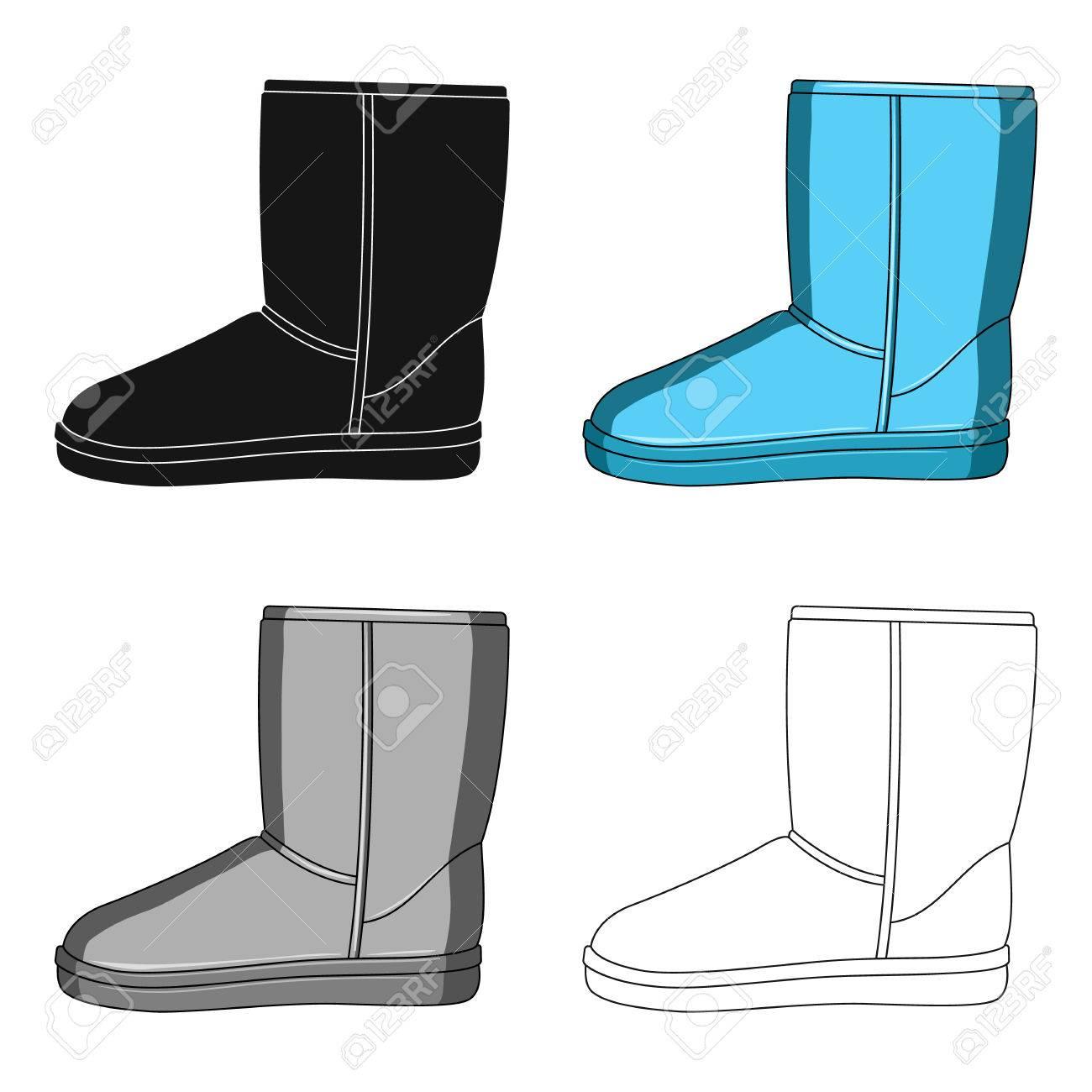 Botas de invierno ugg azul cálido. Zapatos cómodos de invierno para el uso diario. Diferentes zapatos único icono en estilo de dibujos animados