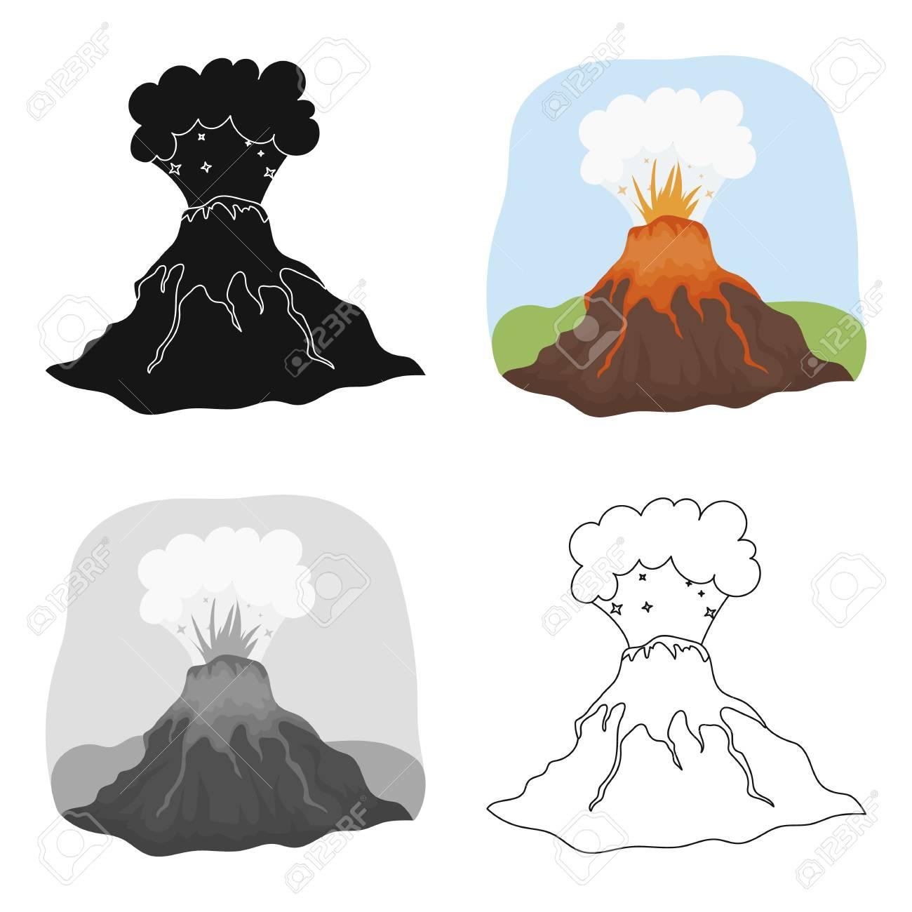 Icône D éruption De Volcan Dans Le Style De Dessin Animé Isolé Sur Fond Blanc Dinosaures Et Symboles Préhistoriques