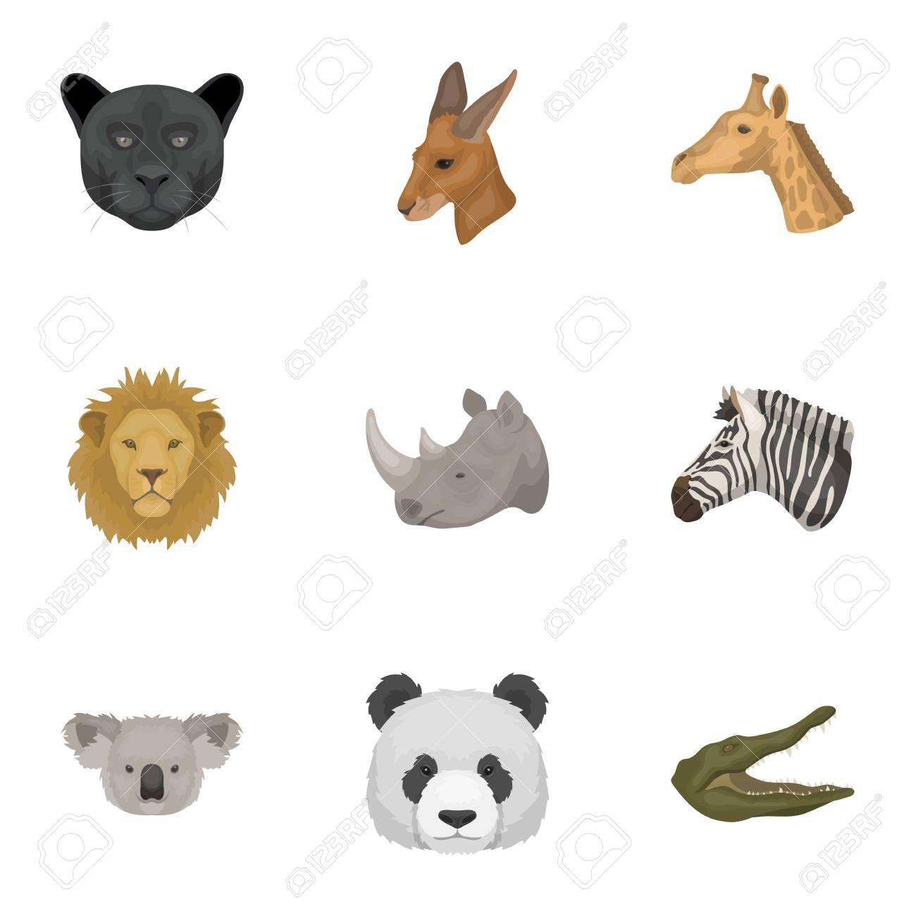 野生動物のアイコンのセット。略奪と穏やかな野生動物。リアルな動物