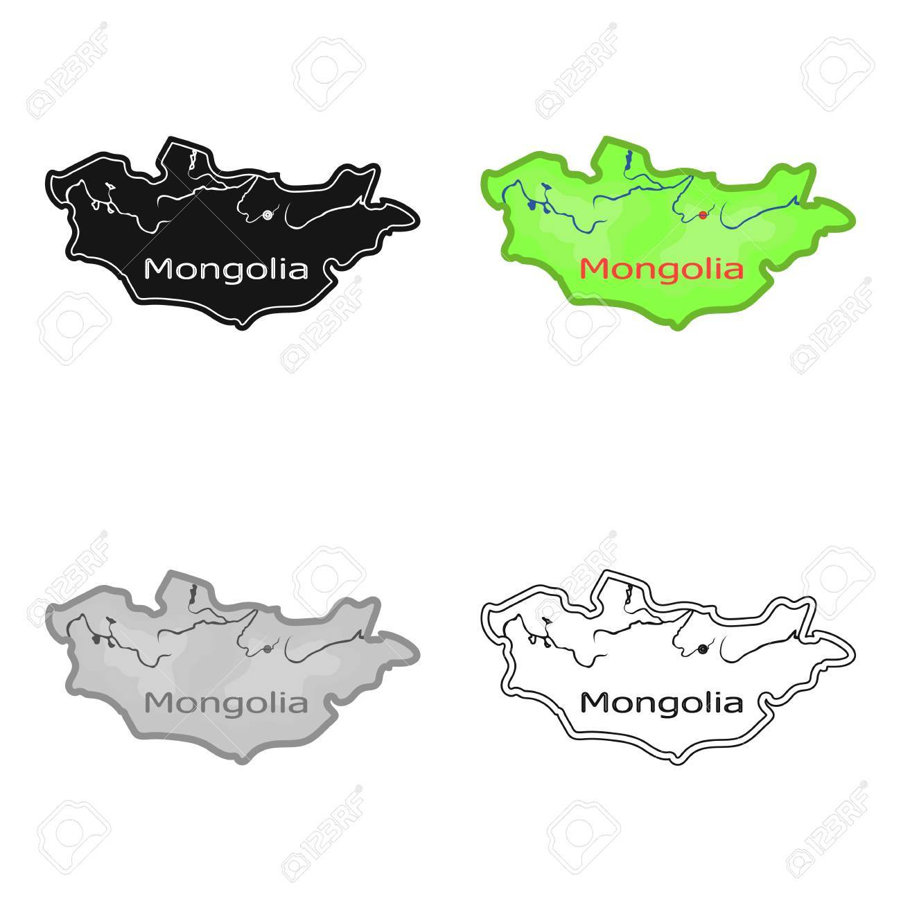 Green map of mongoliangolia on the world mapngolia single green map of mongoliangolia on the world mapngolia single icon in cartoon gumiabroncs Image collections