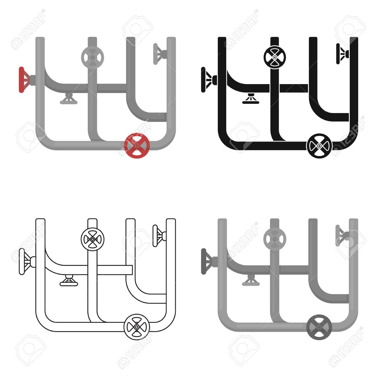 Pipes With Valves Icon In Cartoon Style Isolated On White Background Piping Diagram Symbols Plumbing Symbol Stock Vector