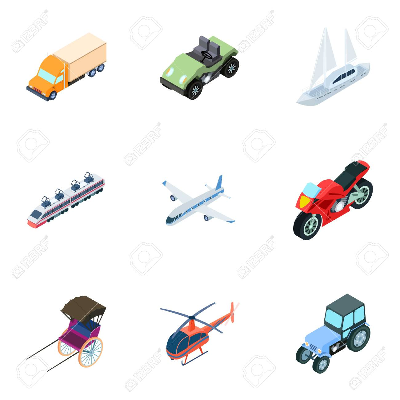 Land, water, air transport  Machines that people use Transportation