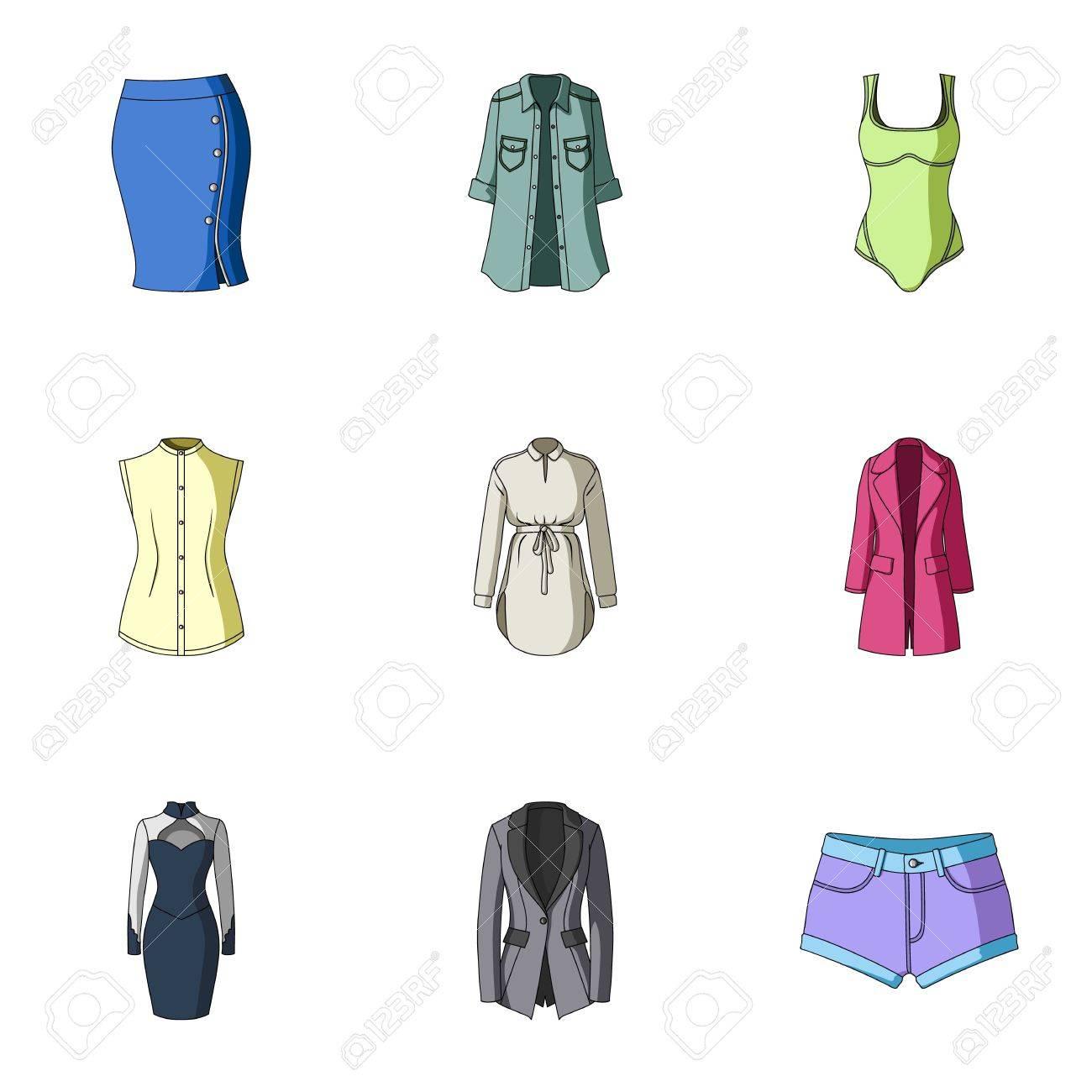 45cfb660b5c91 Colección De Iconos De Ropa De Mujer. Varias Prendas De Vestir Para Mujeres  Para Trabajar