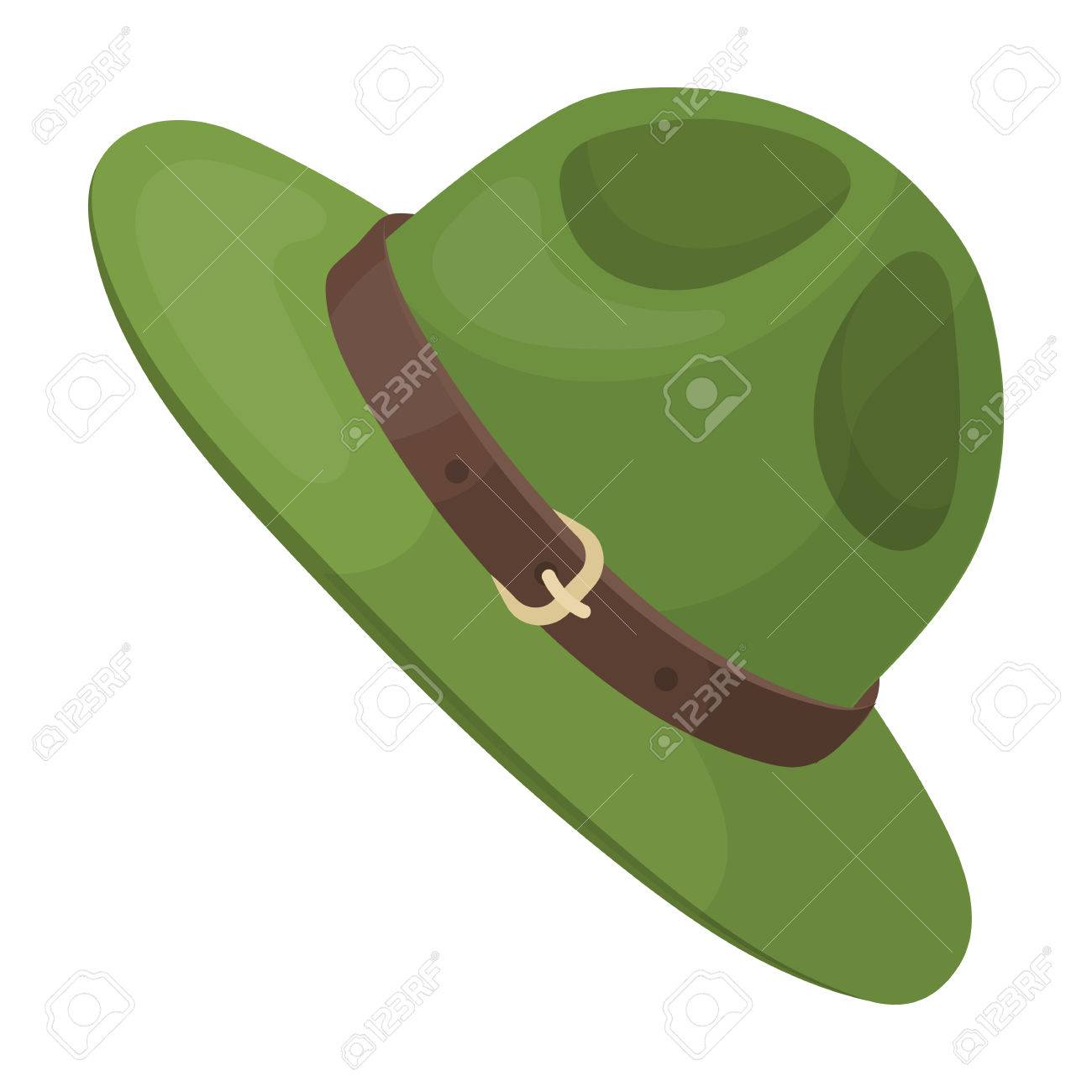 Foto de archivo - Sombrero verde de un ranger canadiense. Solo icono de  Canadá en el clasificador del estilo de la historieta d17a5f0a09a