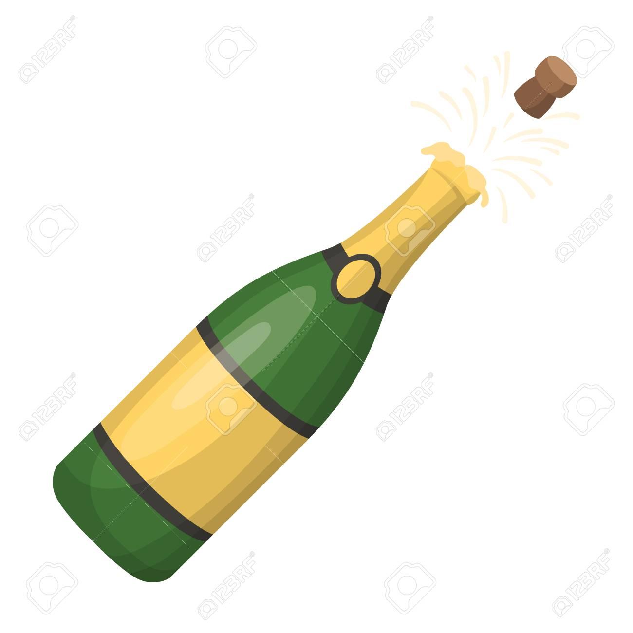 Bouteille De Champagne Dessin une bouteille de champagne avec un bouchon de liège. parti et