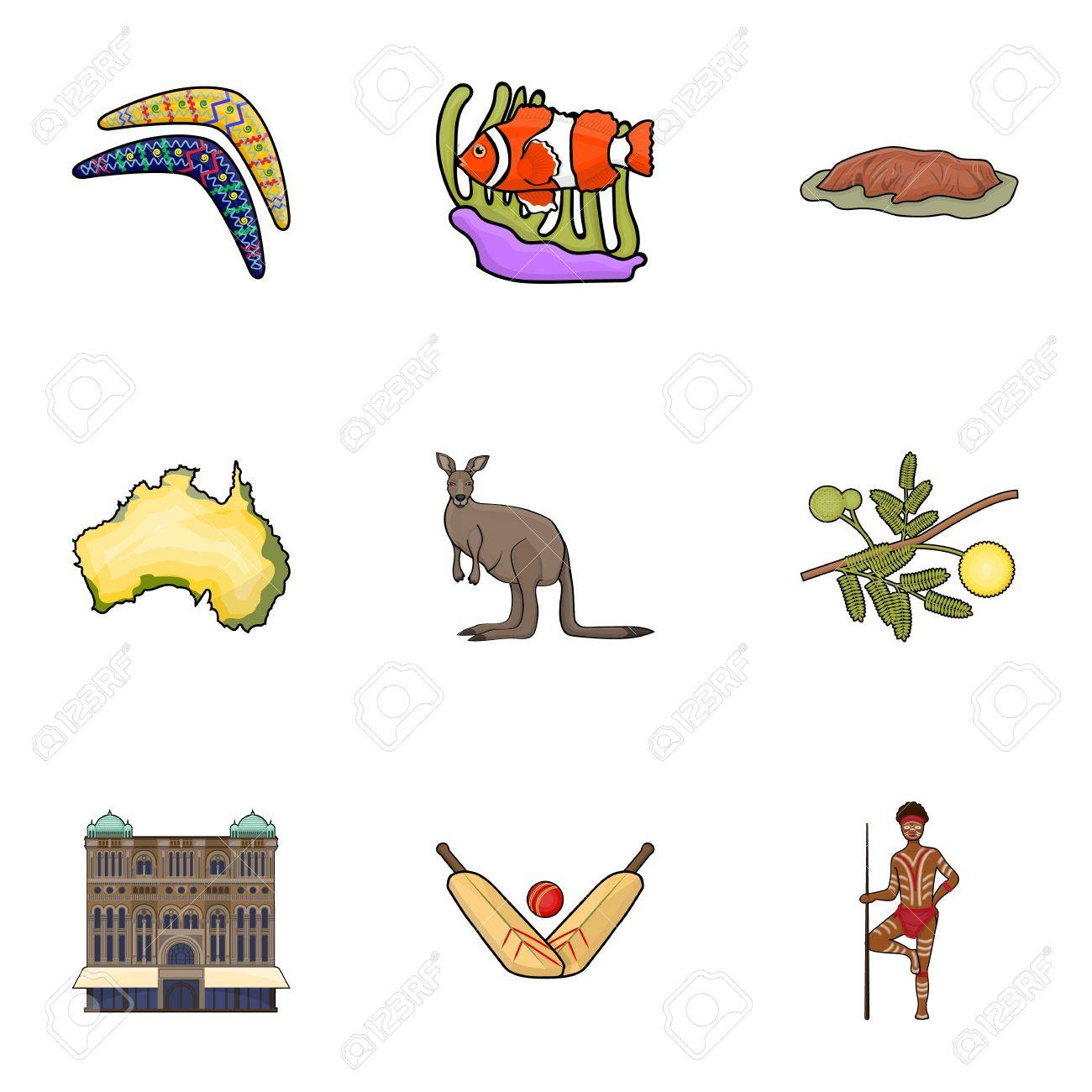 National Symbols Of Australia Web Icon On Australia Theme
