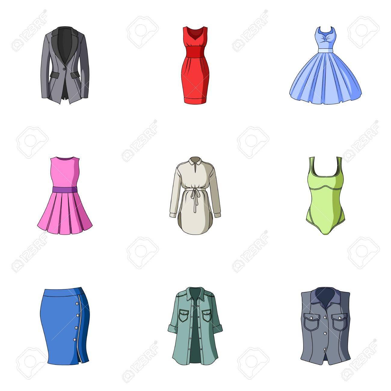 Colección De Iconos De Ropa De Mujer Varias Prendas De Vestir Para Mujeres Para Trabajar Caminar Deportes Icono De Ropa De Mujer En La Colección