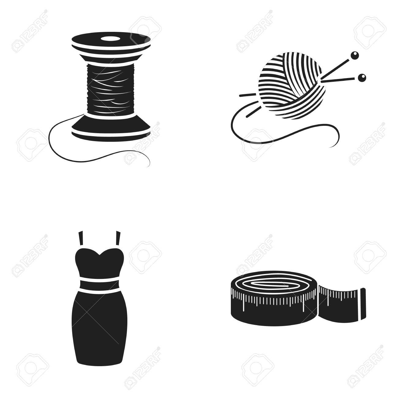 Bobine De Fil Centimètre Robe Pelote De Fil Avec Des Aiguilles à Tricoter Atelier Défini Des Icônes De La Collection Dans L Illustration Stock Du