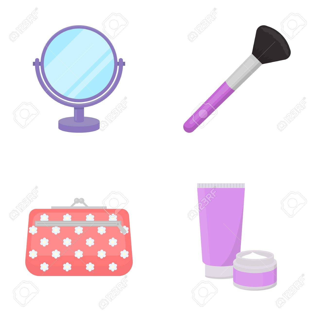 Table mirror, cosmetic bag, face brush, body cream.Makeup set collection icons