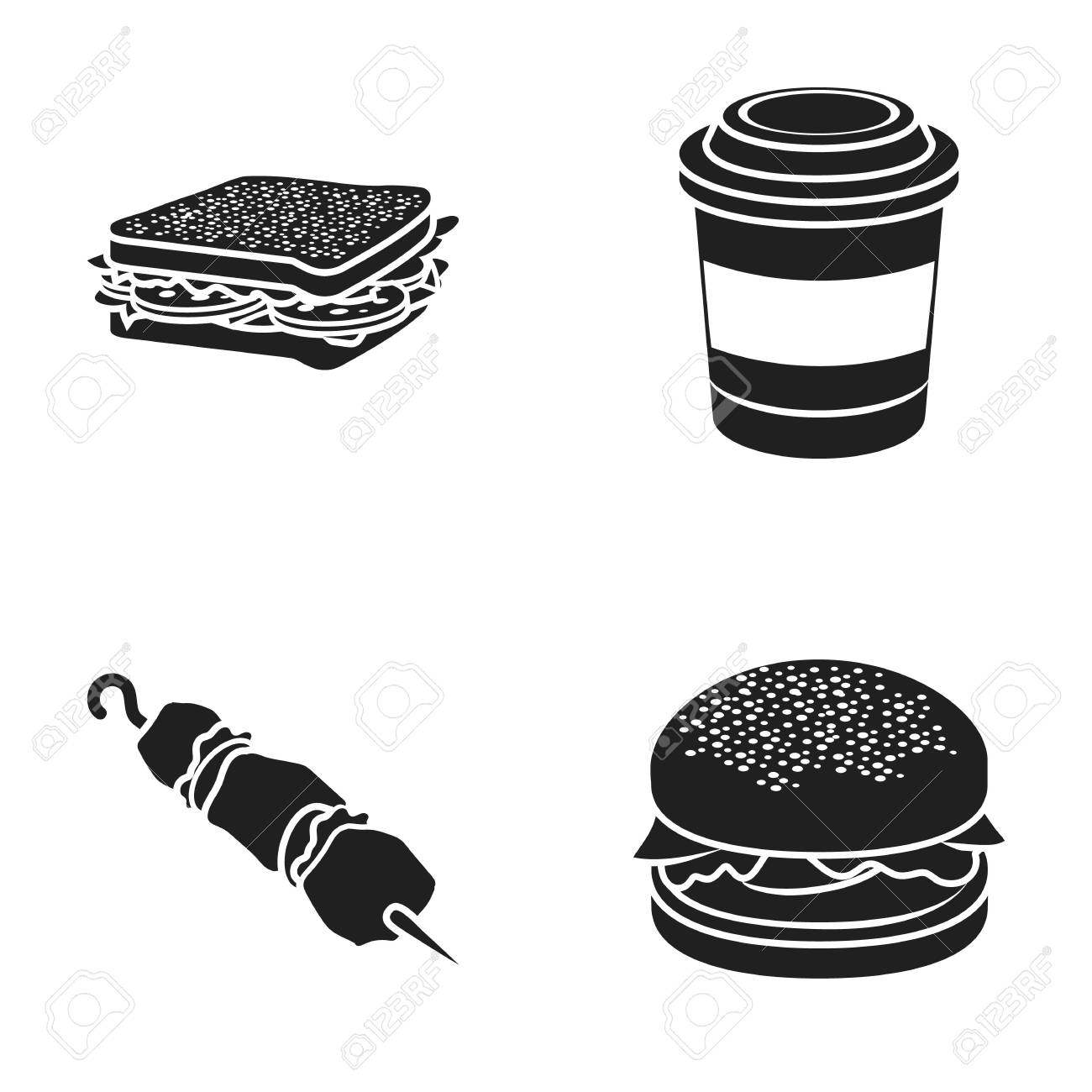 Sandwich Coffee Shish Kebab Burgerfast Food Set Collection