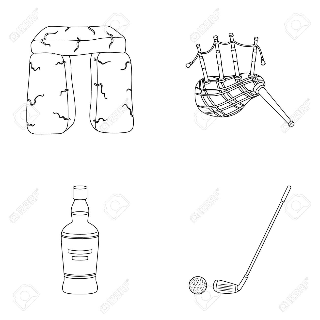 stone monument bagpipe whiskey golf scotland country set Diagram of Assault Rifles stone monument bagpipe whiskey golf scotland country set collection icons in outline