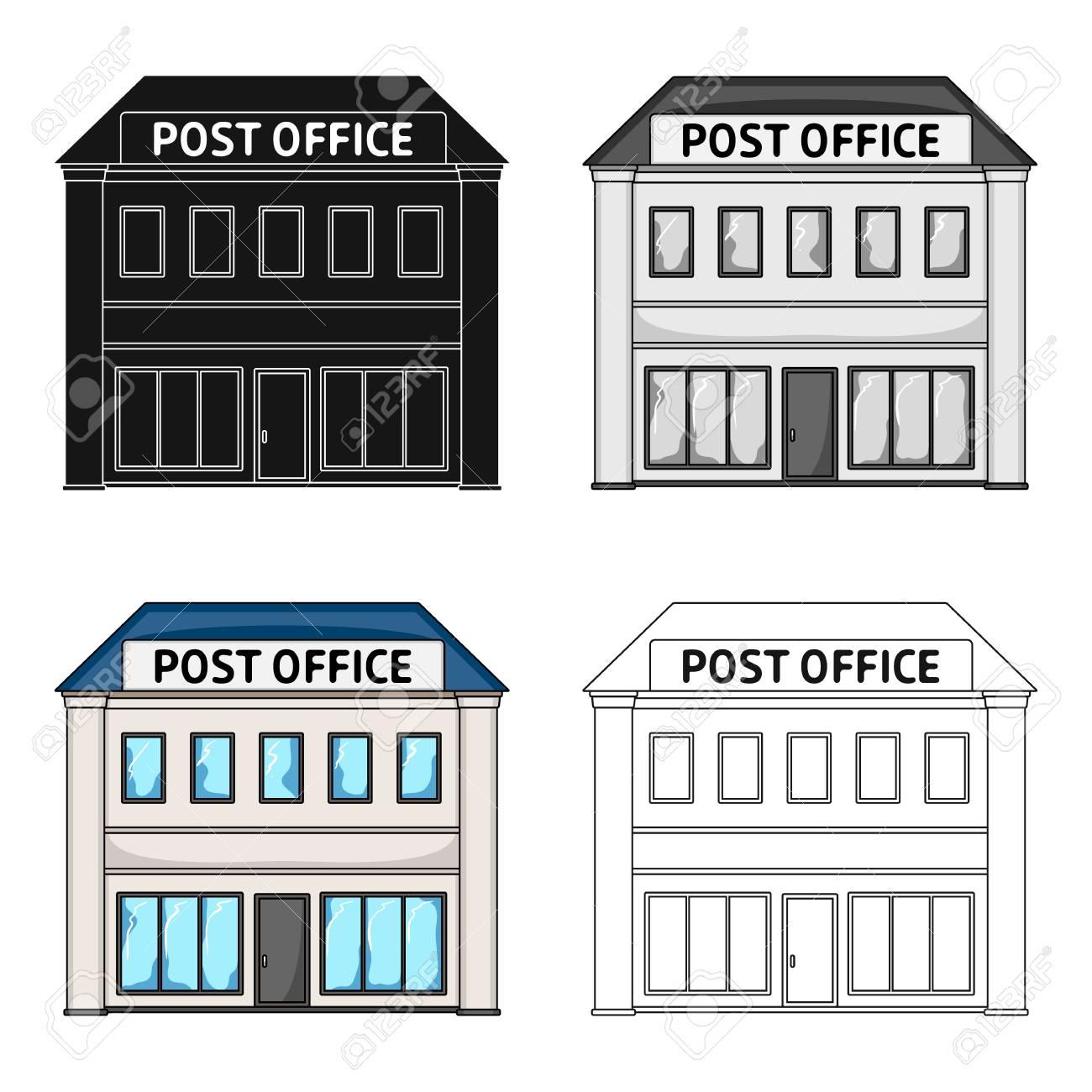 Bureau De Poste Courrier Et Postier Icône Unique En Dessin Animé