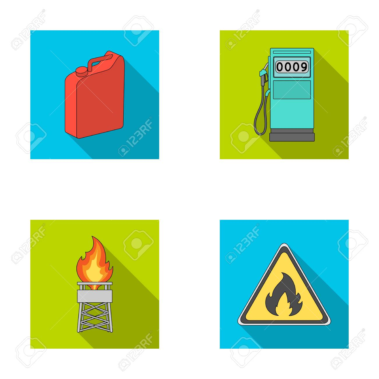 Canister for gasoline, gas station, tower, warning sign  Oil