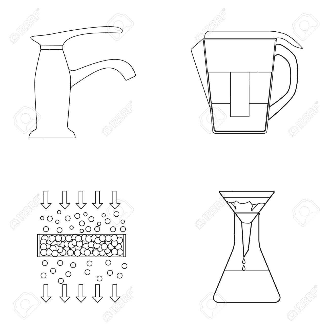 Filter Filtration Nature Eco Bio Water System Diagram Set Collection Icons
