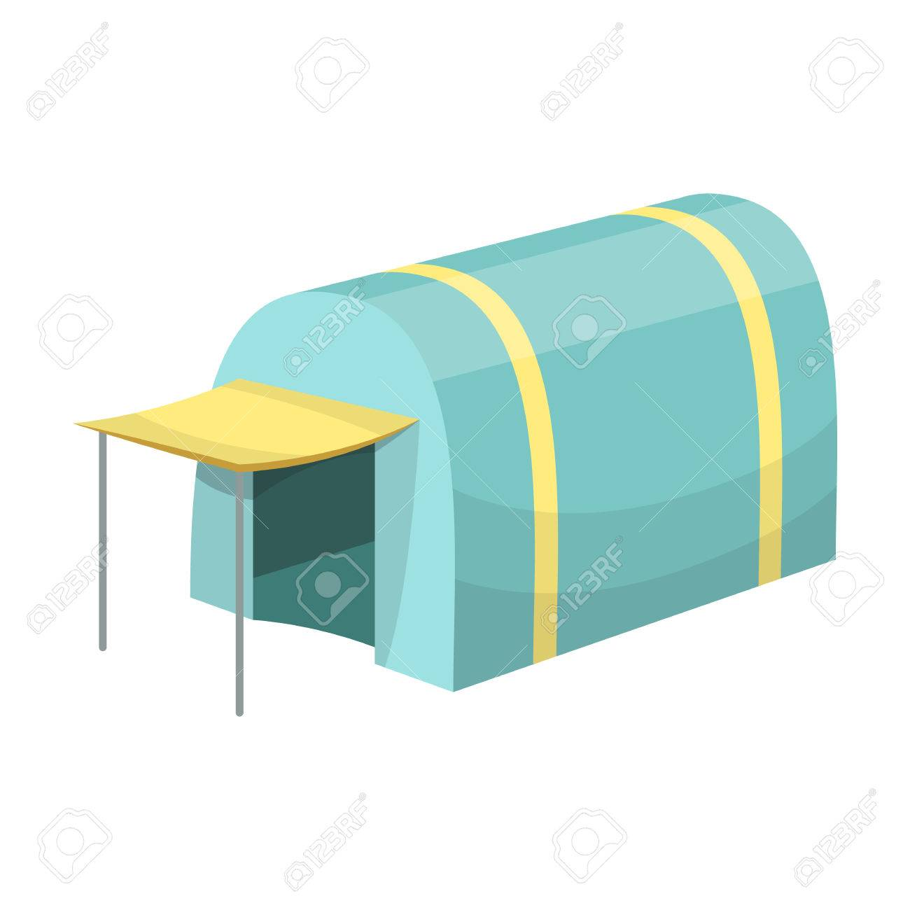 Tent With AwningTent Single Icon In Cartoon Style Vector Symbol Stock Illustration