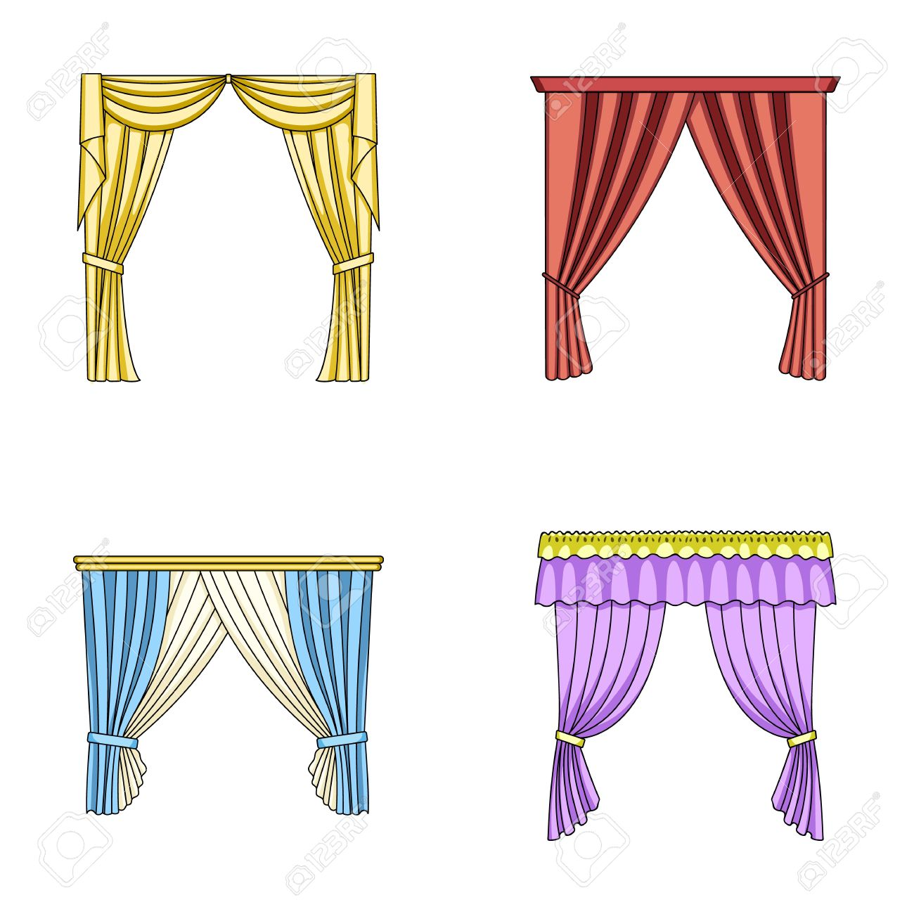 Different Types Of Window Curtains.Curtains Set Collection Icons ... for Window With Curtains Illustration  545xkb