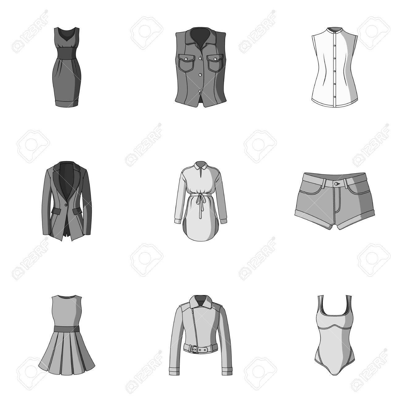 e9d8efdca0238 Colección De Iconos De Ropa Para Mujer. Varias Prendas De Vestir Para  Mujeres Para El Trabajo
