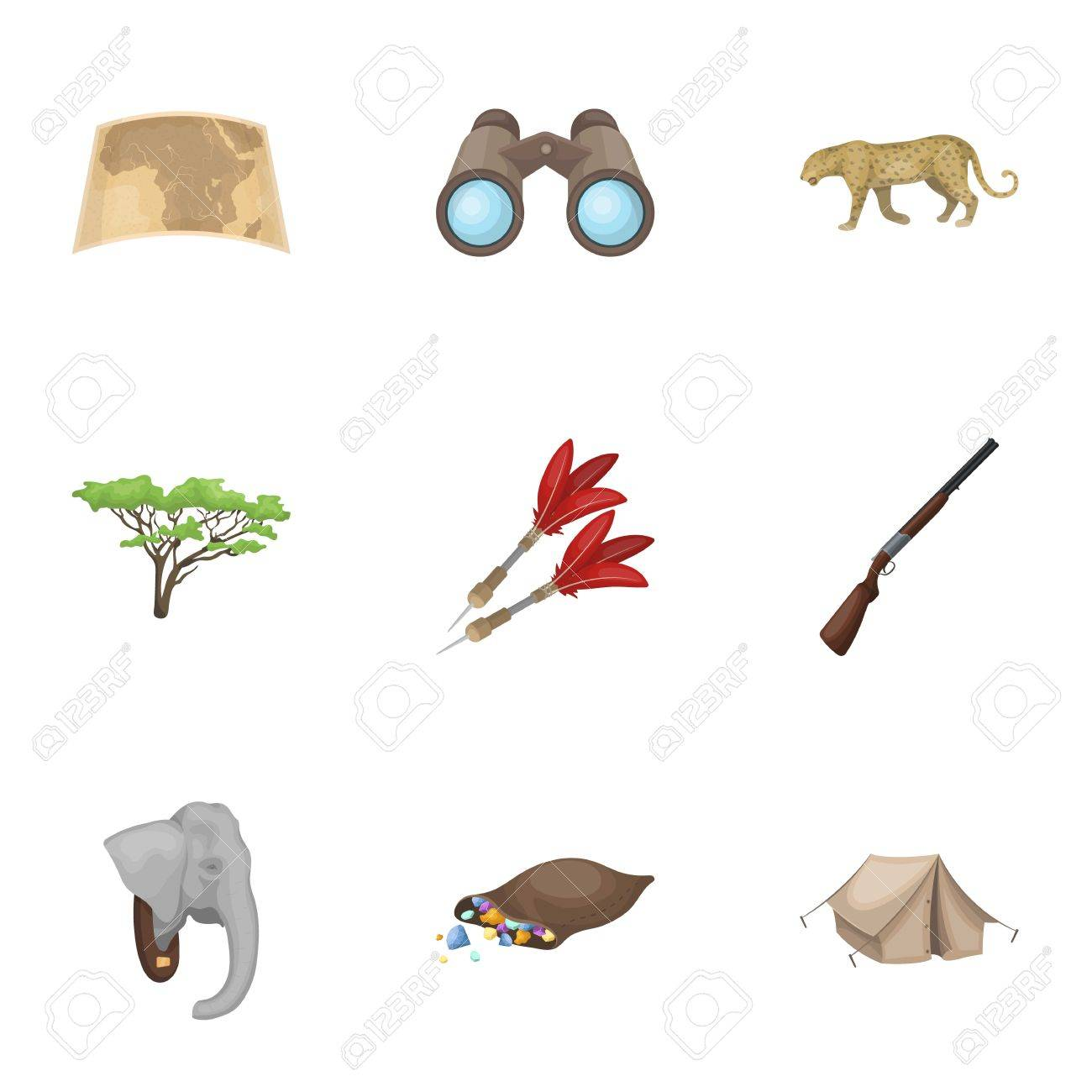 Rifle, mask, map of the territory, diamonds and other equipment. African safari set collection icons in cartoon style vector symbol stock illustration web. - 80683089