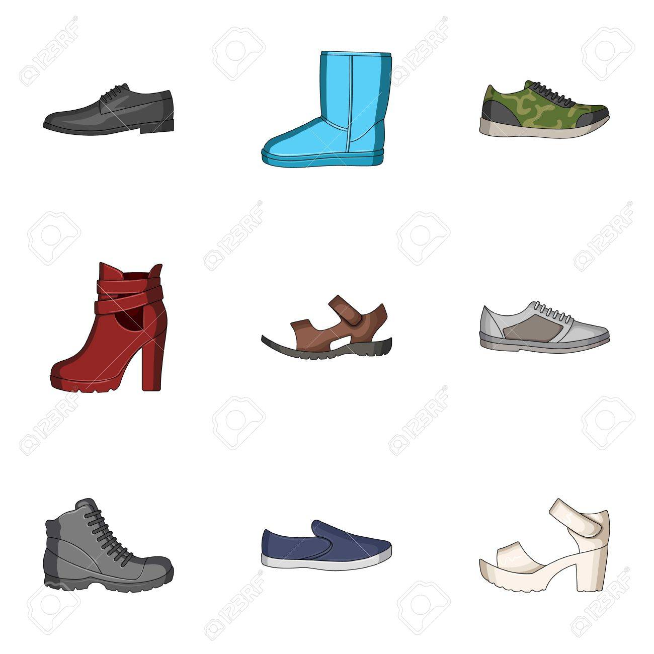 a5f95e2c574c A set of icons on a variety of shoes.Different shoes single icon in cartoon
