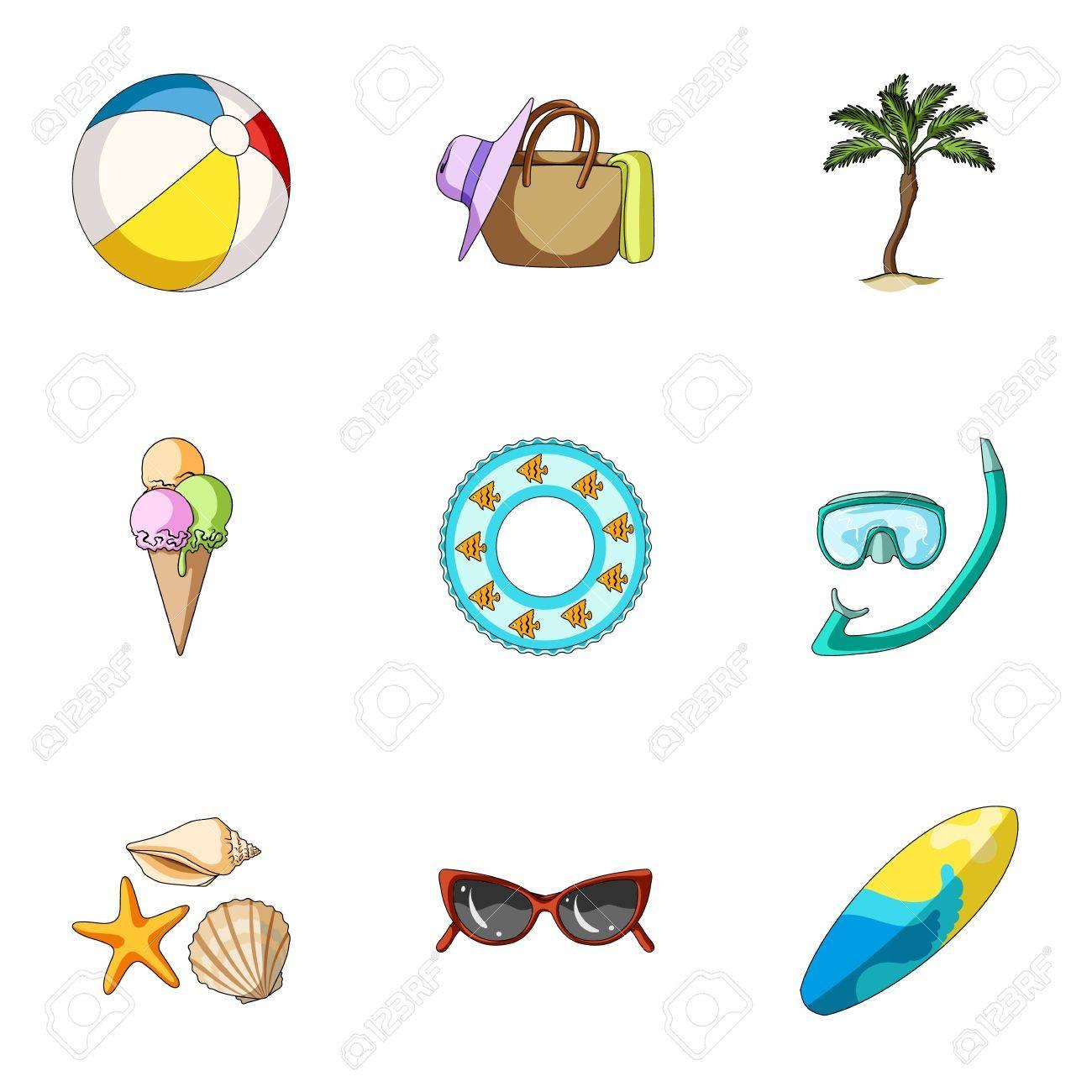 Plage Palmier Glace Summer Vacances Ensemble Collection Icônes Dans Le Dessin Animé Vecteur Symbole Stock Illustration Web