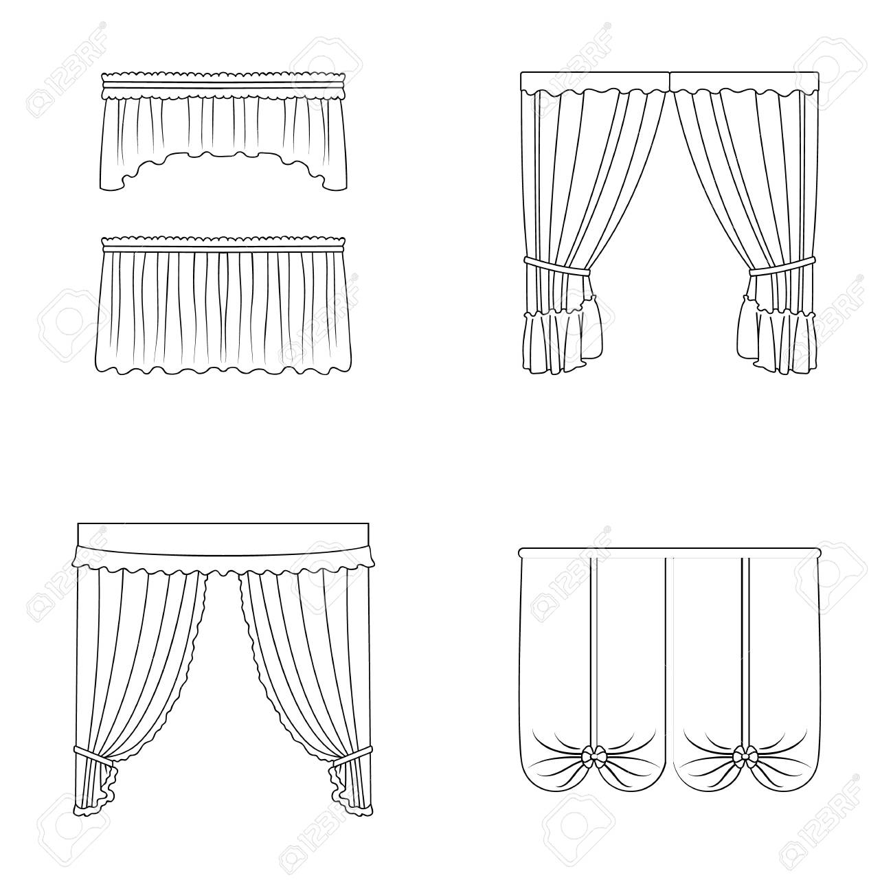 Different Types Of Window Curtains Curtains Set Collection Icons Royalty Free Cliparts Vectors And Stock Illustration Image 81365941