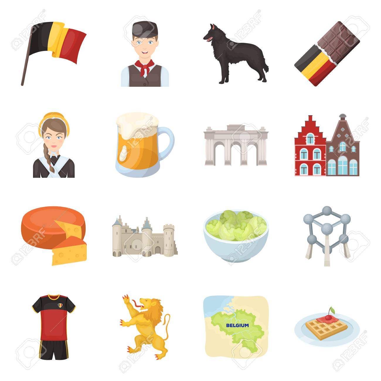 Flag, Brussels, chocolate, cheese, stained glass, lion, and other symbols. Belgium set collection icons in cartoon style vector symbol stock illustration web. - 81412443