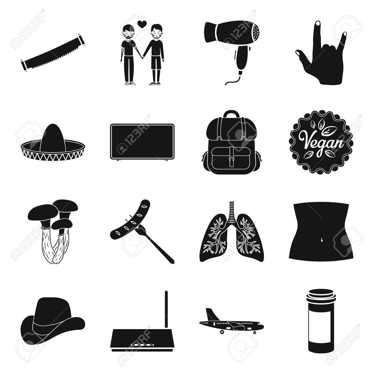 Medicine, computer, gay and other web icon in black style. woodworking,  Equipment