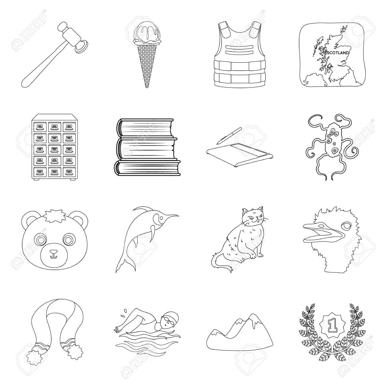 Animal, library, technology and other web icon in outline style