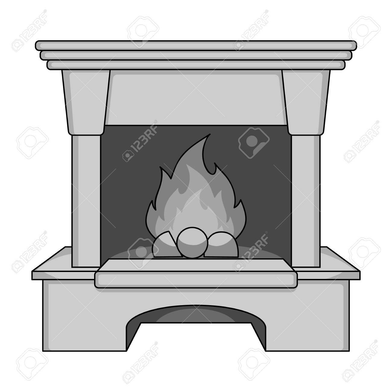Fireplace Single Icon In Monochrome Style Vector Symbol Stock ...