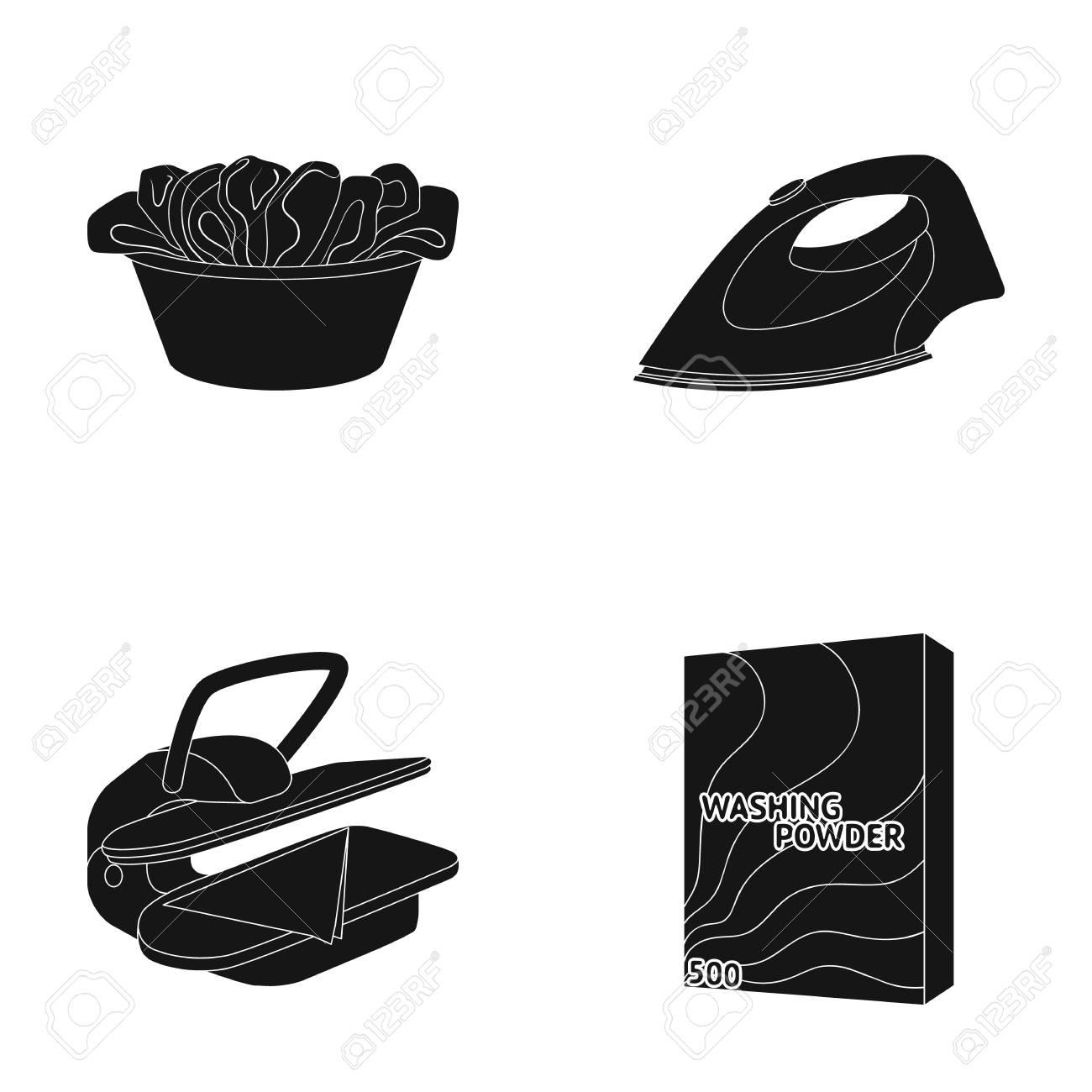 A bowl with laundry, iron, ironing press, washing powder  Dry