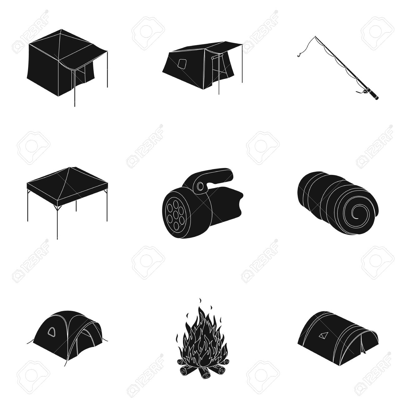 Various kinds of tents and other tourist accessories. The tent set collection icons in black  sc 1 st  123RF.com & Various Kinds Of Tents And Other Tourist Accessories. The Tent ...