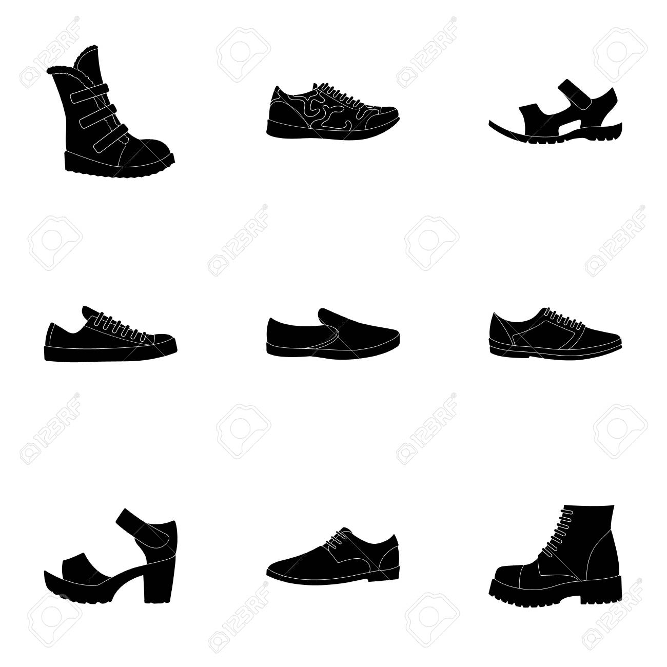 pretty nice 95c15 0e65d Un insieme di icone su una varietà di shoes.Different scarpe singola icona  in nero stile simbolo vettoriale illustrazione stock.